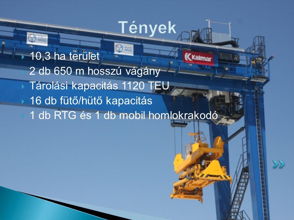 Tények  10,3 ha terület  2 db 650 m hosszú vágány  Tárolási kapacitás 1120 TEU  16 db fütő/hütő kapacitás  1 db RTG és 1 db mobil homlokrakodó