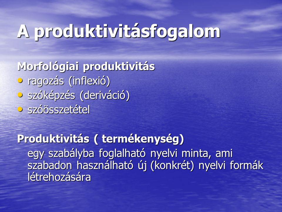 A produktivitásfogalom Morfológiai produktivitás ragozás (inflexió) ragozás (inflexió) szóképzés (deriváció) szóképzés (deriváció) szóösszetétel szóös