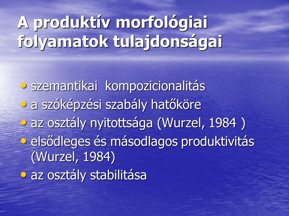 A produktív morfológiai folyamatok tulajdonságai szemantikai kompozicionalitás szemantikai kompozicionalitás a szóképzési szabály hatőköre a szóképzés
