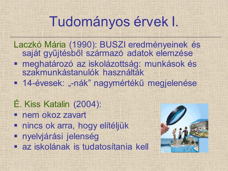 Tudományos érvek I. Laczkó Mária (1990): BUSZI eredményeinek és saját gyűjtésből származó adatok elemzése  meghatározó az iskolázottság: munkások és