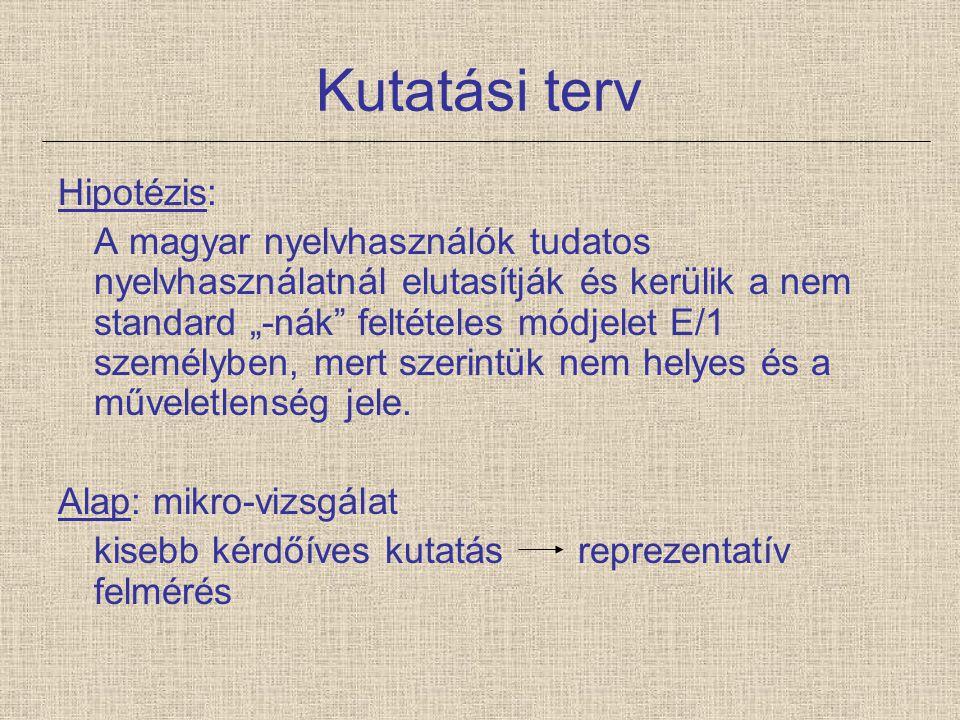 """Kutatási terv Hipotézis: A magyar nyelvhasználók tudatos nyelvhasználatnál elutasítják és kerülik a nem standard """"-nák"""" feltételes módjelet E/1 személ"""