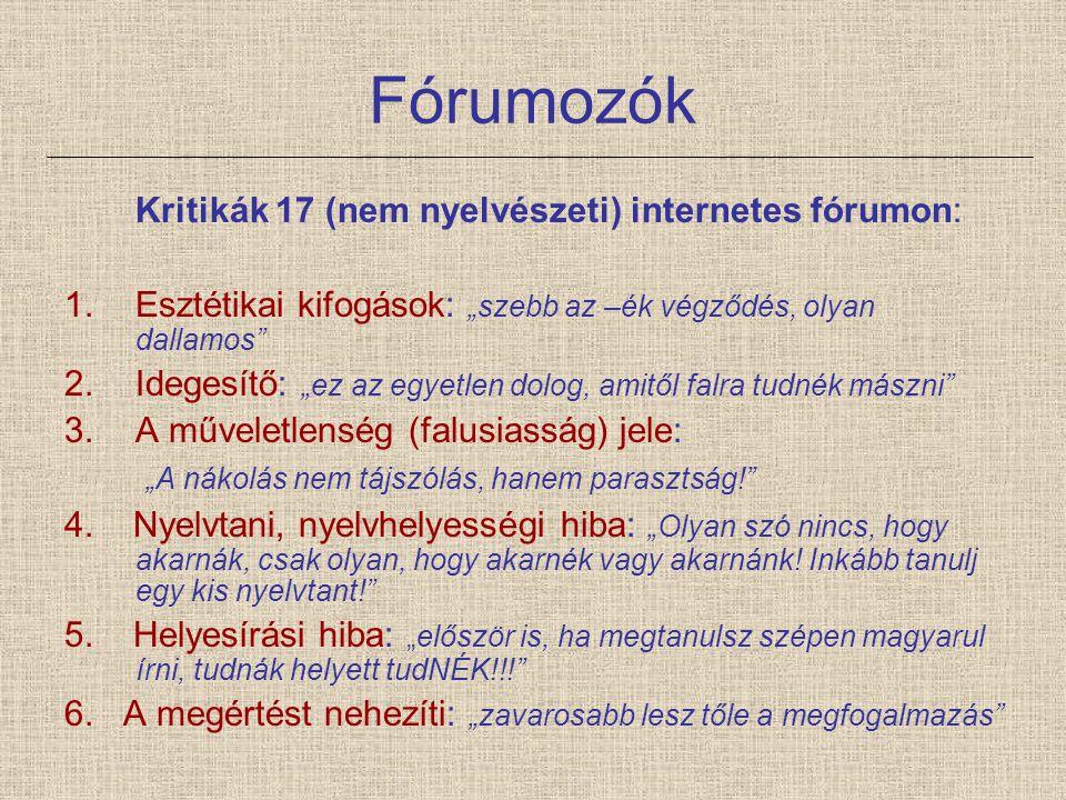"""Fórumozók Kritikák 17 (nem nyelvészeti) internetes fórumon: 1.Esztétikai kifogások: """"szebb az –ék végződés, olyan dallamos"""" 2.Idegesítő: """"ez az egyetl"""