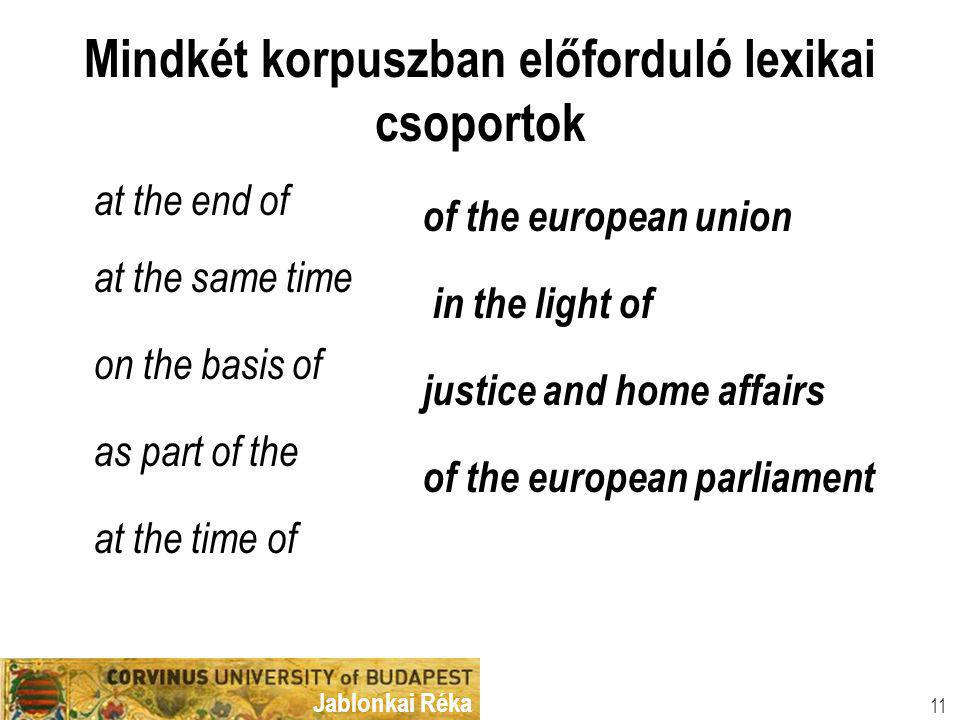 Jablonkai Réka Mindkét korpuszban előforduló lexikai csoportok at the end of at the same time on the basis of as part of the at the time of of the european union in the light of justice and home affairs of the european parliament 11
