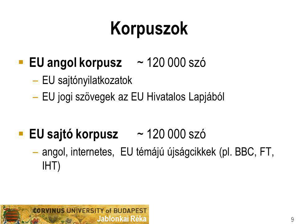 Jablonkai Réka Korpuszok  EU angol korpusz ~ 120 000 szó –EU sajtónyilatkozatok –EU jogi szövegek az EU Hivatalos Lapjából  EU sajtó korpusz ~ 120 000 szó –angol, internetes, EU témájú újságcikkek (pl.