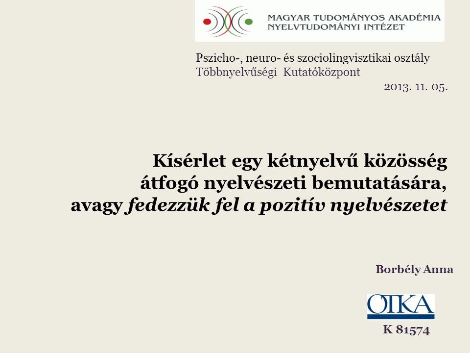 Kísérlet egy kétnyelvű közösség átfogó nyelvészeti bemutatására, avagy fedezzük fel a pozitív nyelvészetet Borbély Anna Pszicho-, neuro- és szociolingvisztikai osztály Többnyelvűségi Kutatóközpont 2013.