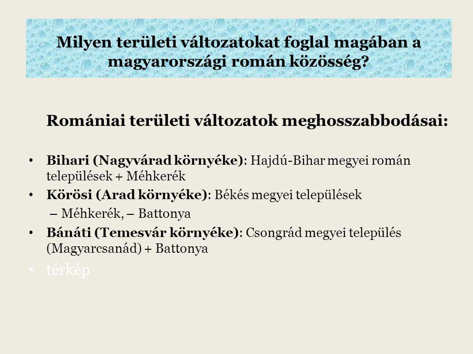 Milyen területi változatokat foglal magában a magyarországi román közösség.