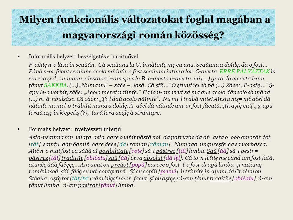 Milyen funkcionális változatokat foglal magában a magyarországi román közösség.
