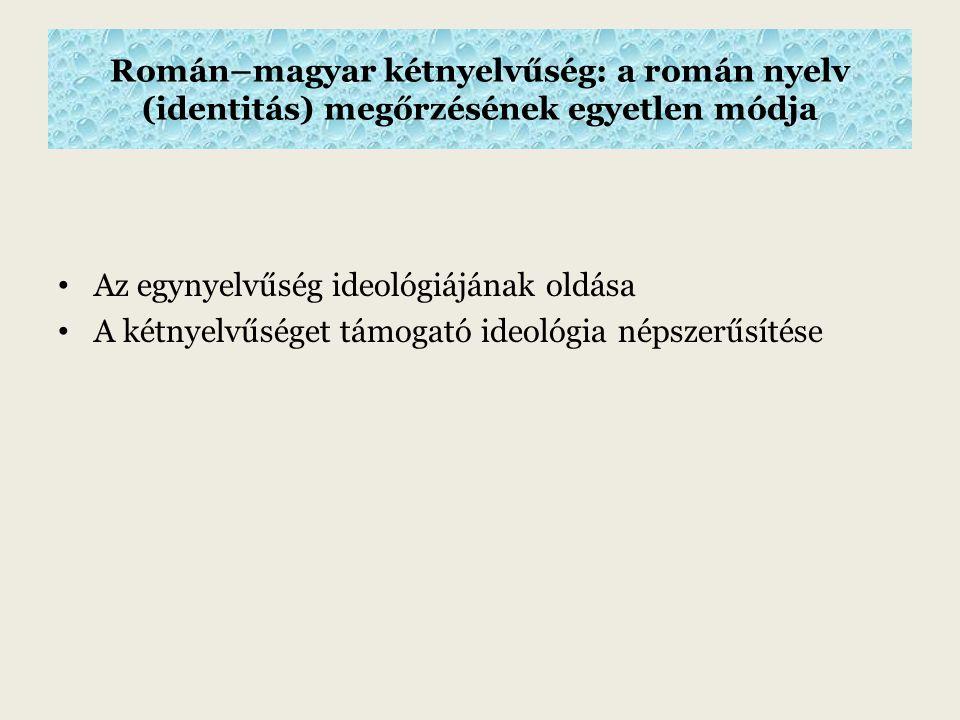 Román–magyar kétnyelvűség: a román nyelv (identitás) megőrzésének egyetlen módja Az egynyelvűség ideológiájának oldása A kétnyelvűséget támogató ideológia népszerűsítése