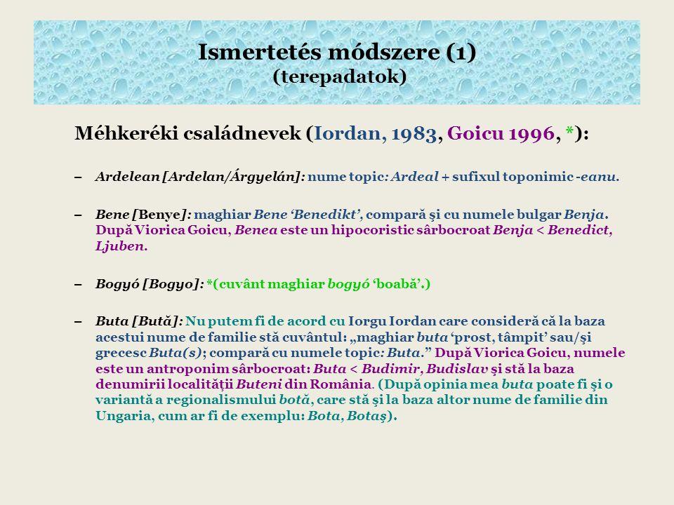 Méhkeréki családnevek (Iordan, 1983, Goicu 1996, *): – Ardelean [Ardelan/Árgyelán]: nume topic: Ardeal + sufixul toponimic -eanu.