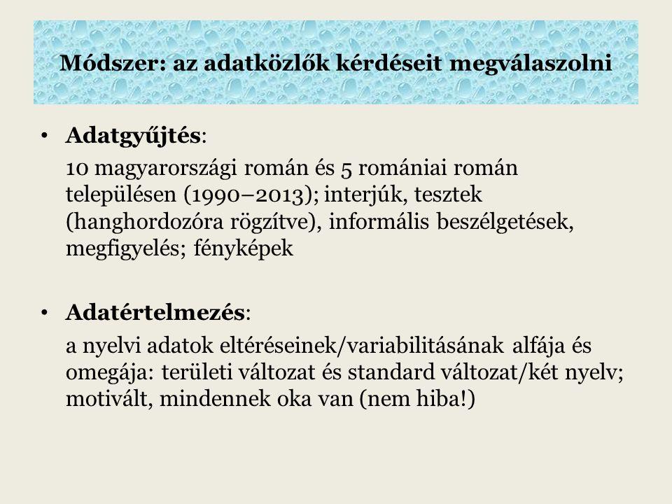 """A beszélt nyelv gazdagsága (Ionescu-Rux ă ndoiu, 1999) Szavak, melyek egy-egy településhez köthető """"specifikumok : területi változat: bădancă (Méhkerék); magyar együttélés: holumbu biserici (Kétegyháza) szerb együttélés: cica, babica, tetca, maca (Battonya) Az egész közösségre jellemző kifejezések (Coteanu 1973): szólások; felkiáltások; kérdések; rímes kifejezése; a dicséret és az elismerés kifejezése; szidalmazások; értelmezések, magyarázatok, kiegészítések; visszacsatolások; ismétlések; egocentrikus utalások; hasonlatok; metaforák: dăşt'is la cap (nyitott fejű='okos')"""