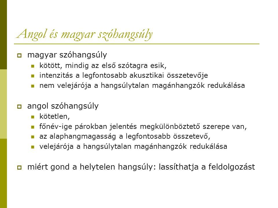 Angol és magyar szóhangsúly  magyar szóhangsúly kötött, mindig az első szótagra esik, intenzitás a legfontosabb akusztikai összetevője nem velejárója