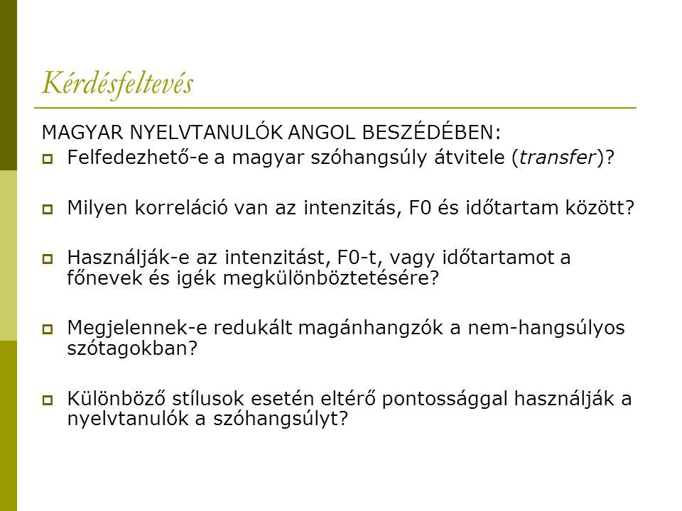 Kérdésfeltevés MAGYAR NYELVTANUL Ó K ANGOL BESZ É D É BEN:  Felfedezhető-e a magyar szóhangsúly átvitele (transfer)?  Milyen korreláció van az inten