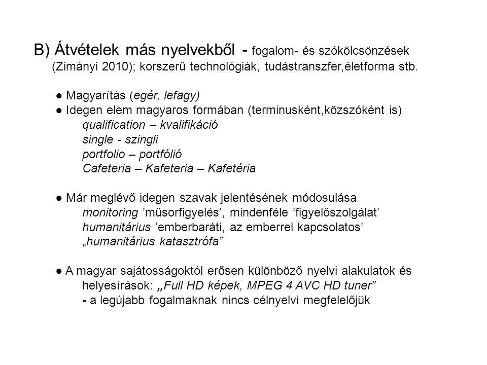 B) Átvételek más nyelvekből - fogalom- és szókölcsönzések (Zimányi 2010); korszerű technológiák, tudástranszfer,életforma stb.