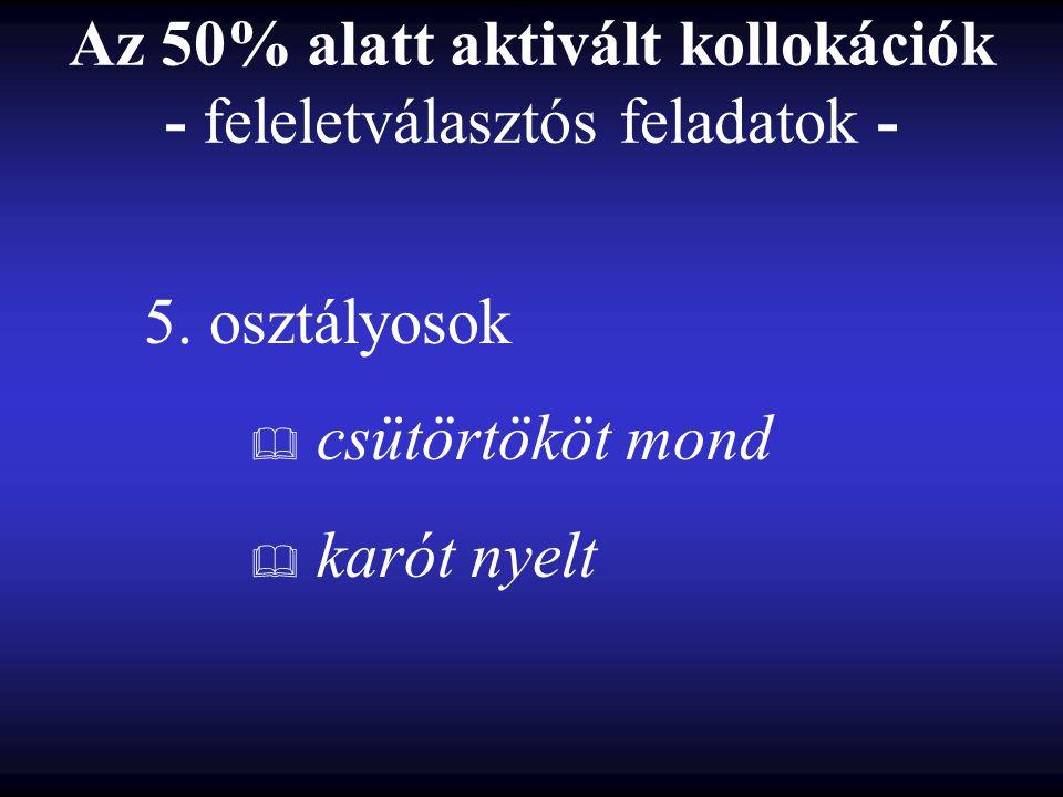 Az 50% alatt aktivált kollokációk - feleletválasztós feladatok - 5.