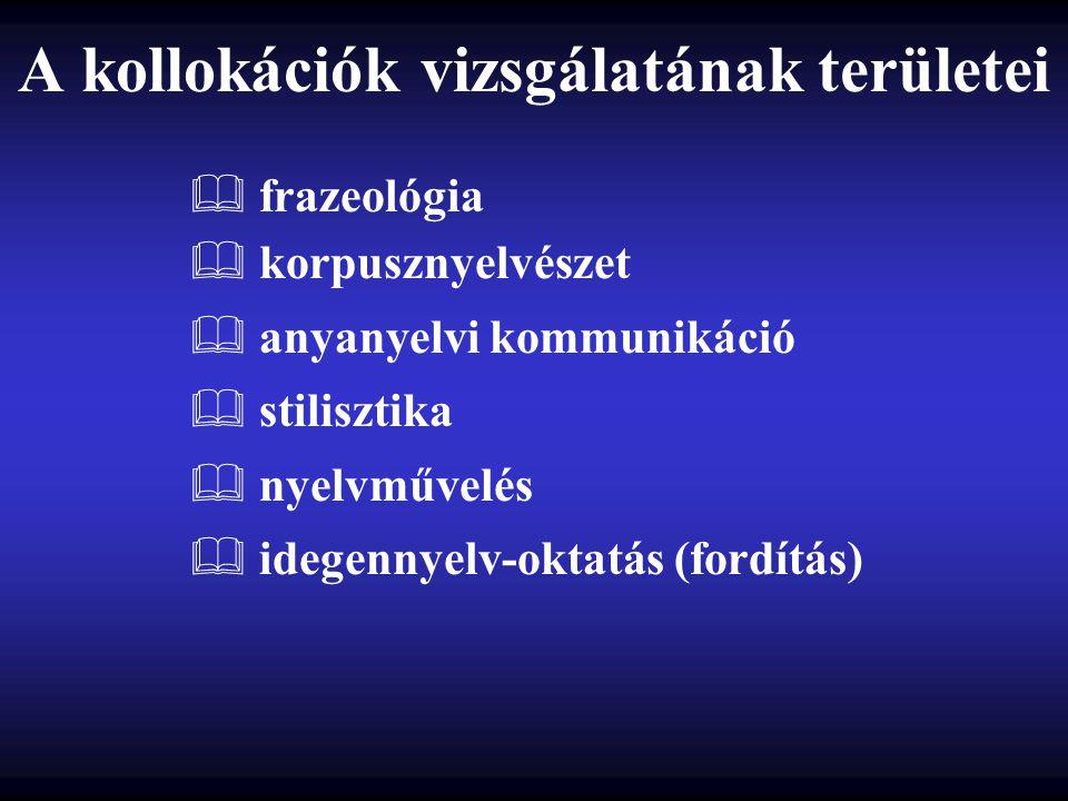 A kollokációk vizsgálatának területei  frazeológia  korpusznyelvészet  anyanyelvi kommunikáció  stilisztika  nyelvművelés  idegennyelv-oktatás (fordítás)