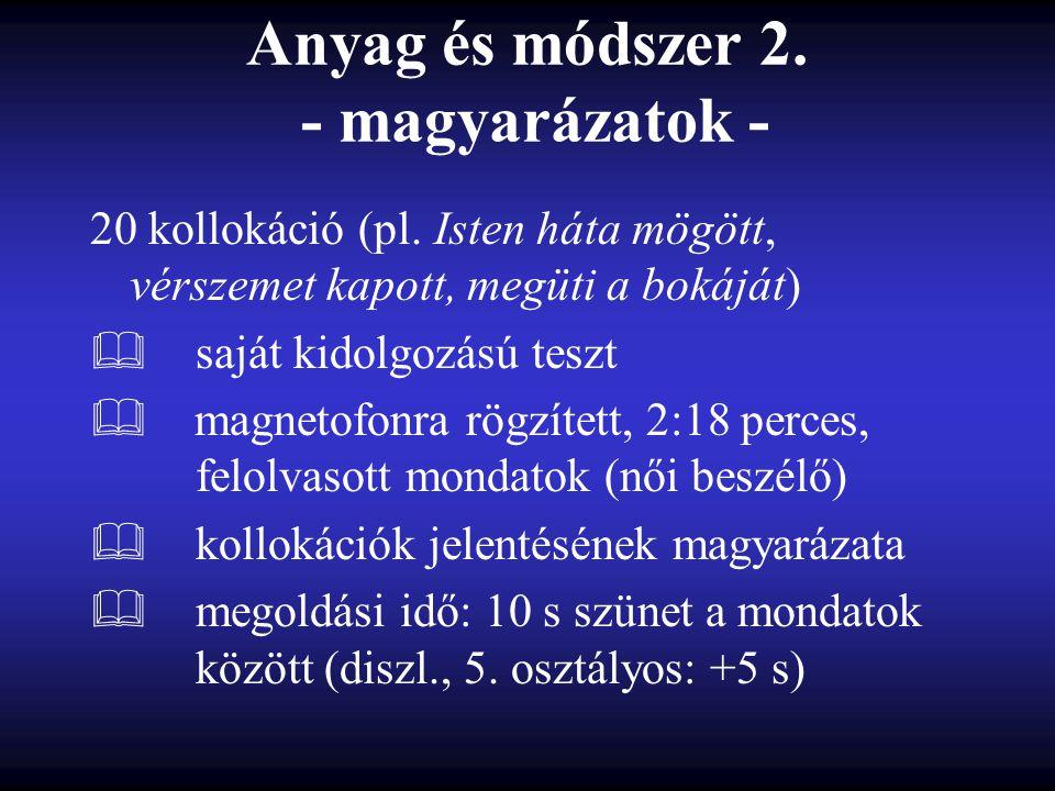Anyag és módszer 2. - magyarázatok - 20 kollokáció (pl.