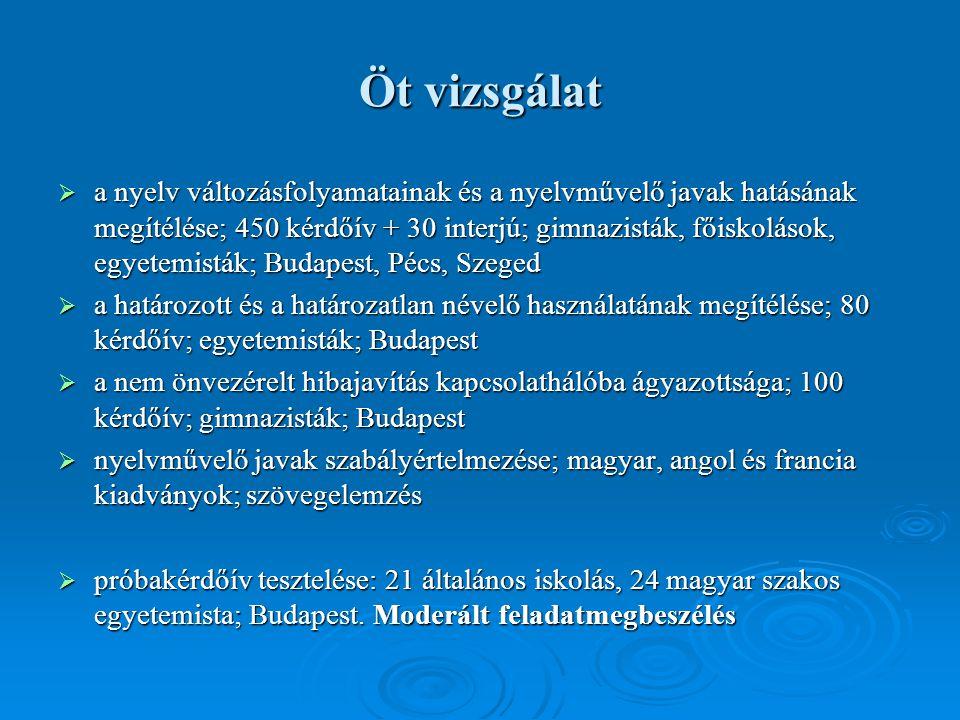 Öt vizsgálat  a nyelv változásfolyamatainak és a nyelvművelő javak hatásának megítélése; 450 kérdőív + 30 interjú; gimnazisták, főiskolások, egyetemisták; Budapest, Pécs, Szeged  a határozott és a határozatlan névelő használatának megítélése; 80 kérdőív; egyetemisták; Budapest  a nem önvezérelt hibajavítás kapcsolathálóba ágyazottsága; 100 kérdőív; gimnazisták; Budapest  nyelvművelő javak szabályértelmezése; magyar, angol és francia kiadványok; szövegelemzés  próbakérdőív tesztelése: 21 általános iskolás, 24 magyar szakos egyetemista; Budapest.