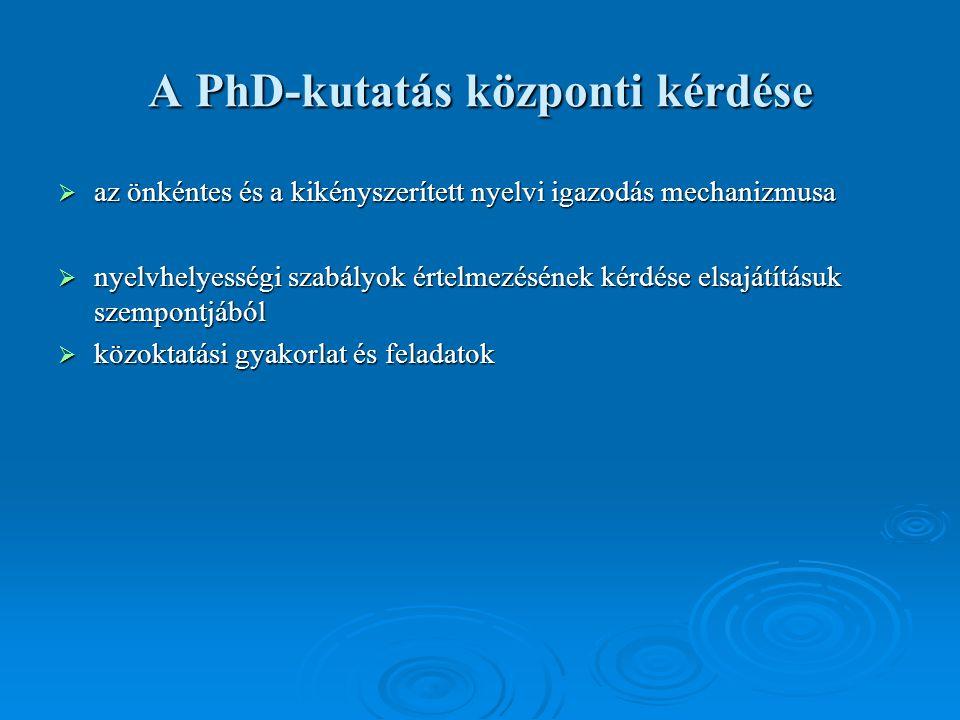 A PhD-kutatás központi kérdése  az önkéntes és a kikényszerített nyelvi igazodás mechanizmusa  nyelvhelyességi szabályok értelmezésének kérdése elsajátításuk szempontjából  közoktatási gyakorlat és feladatok