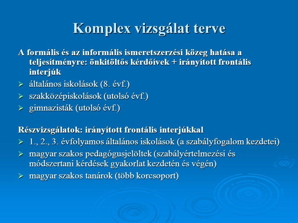 Komplex vizsgálat terve A formális és az informális ismeretszerzési közeg hatása a teljesítményre: önkitöltős kérdőívek + irányított frontális interjúk  általános iskolások (8.