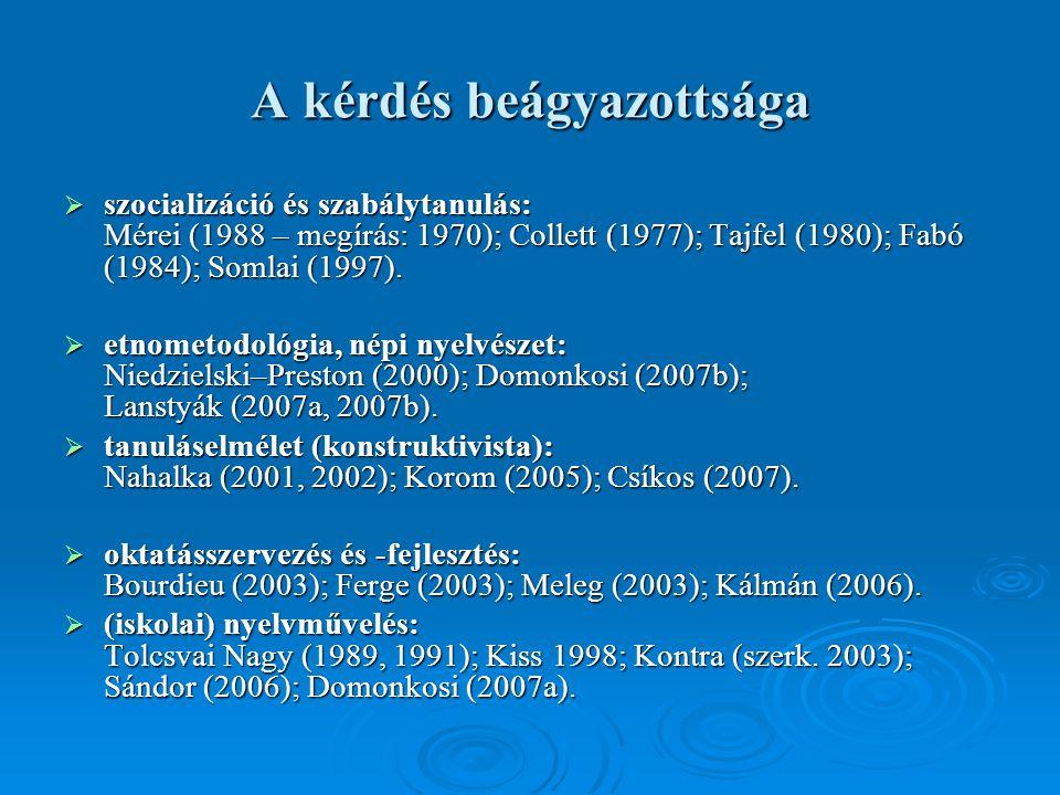 A kérdés beágyazottsága  szocializáció és szabálytanulás: Mérei (1988 – megírás: 1970); Collett (1977); Tajfel (1980); Fabó (1984); Somlai (1997).
