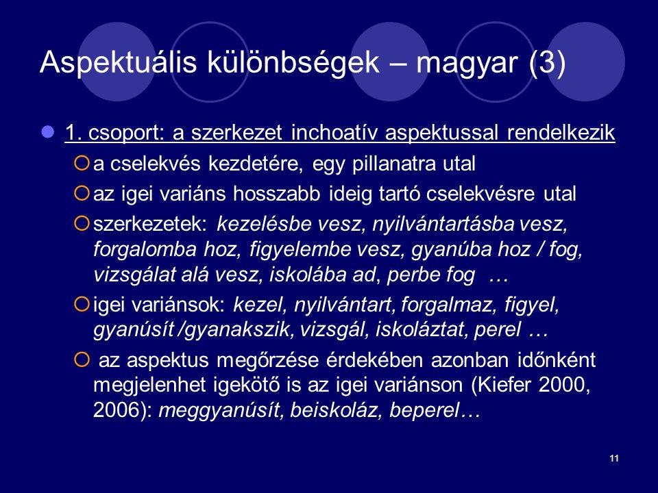 11 Aspektuális különbségek – magyar (3) 1. csoport: a szerkezet inchoatív aspektussal rendelkezik  a cselekvés kezdetére, egy pillanatra utal  az ig