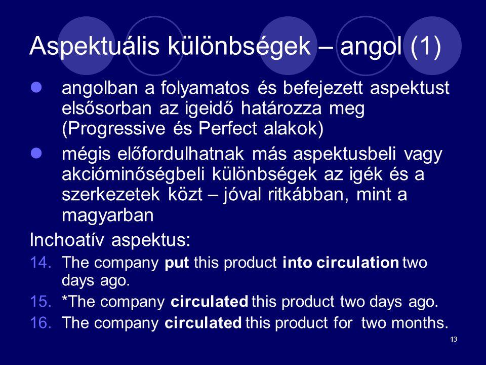 13 Aspektuális különbségek – angol (1) angolban a folyamatos és befejezett aspektust elsősorban az igeidő határozza meg (Progressive és Perfect alakok