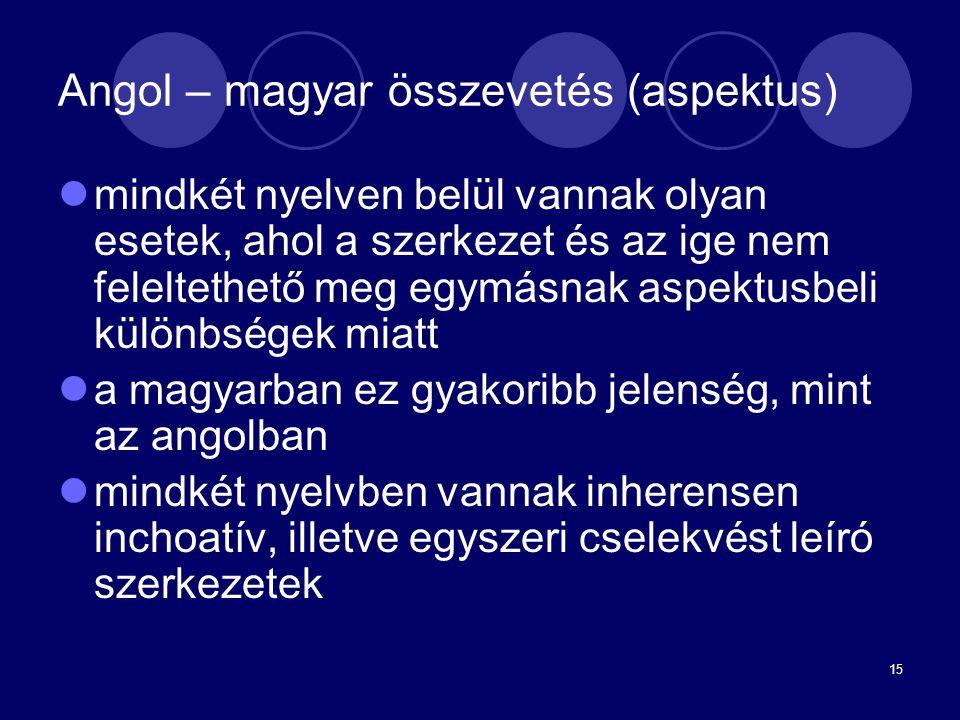 15 Angol – magyar összevetés (aspektus) mindkét nyelven belül vannak olyan esetek, ahol a szerkezet és az ige nem feleltethető meg egymásnak aspektusb
