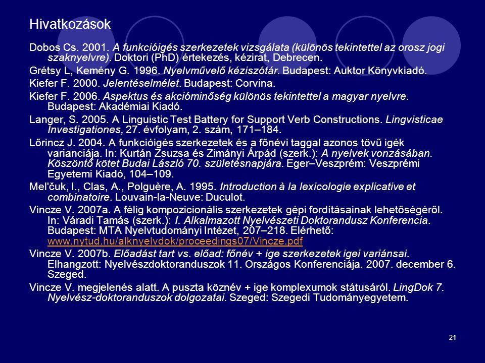 21 Hivatkozások Dobos Cs. 2001. A funkcióigés szerkezetek vizsgálata (különös tekintettel az orosz jogi szaknyelvre). Doktori (PhD) értekezés, kézirat