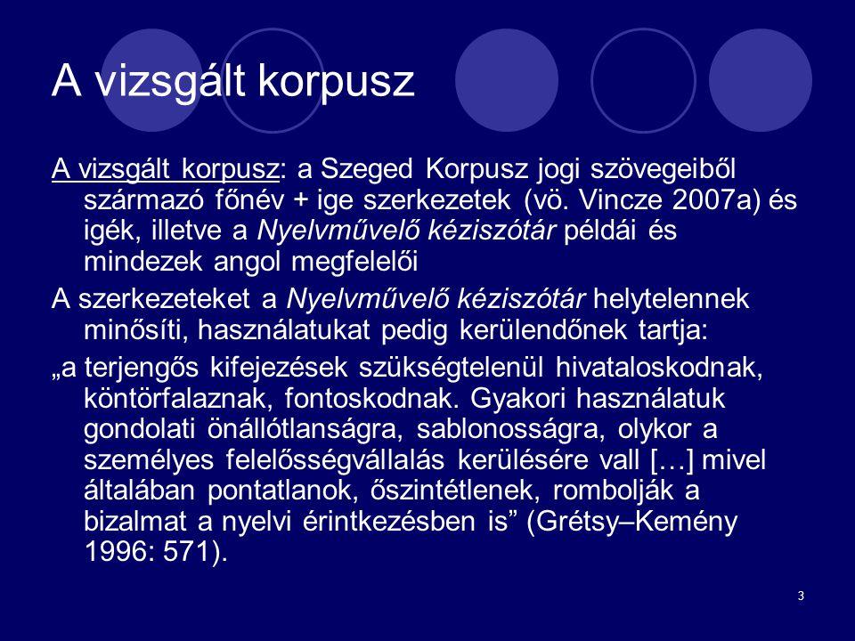 3 A vizsgált korpusz A vizsgált korpusz: a Szeged Korpusz jogi szövegeiből származó főnév + ige szerkezetek (vö. Vincze 2007a) és igék, illetve a Nyel