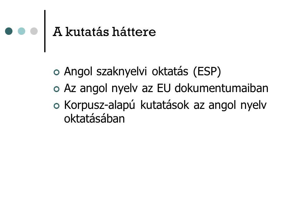A kutatás háttere Angol szaknyelvi oktatás (ESP) Az angol nyelv az EU dokumentumaiban Korpusz-alapú kutatások az angol nyelv oktatásában