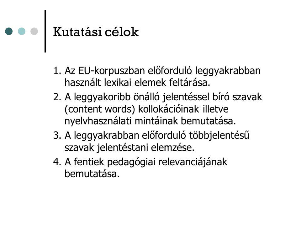 Kutatási célok 1. Az EU-korpuszban előforduló leggyakrabban használt lexikai elemek feltárása.