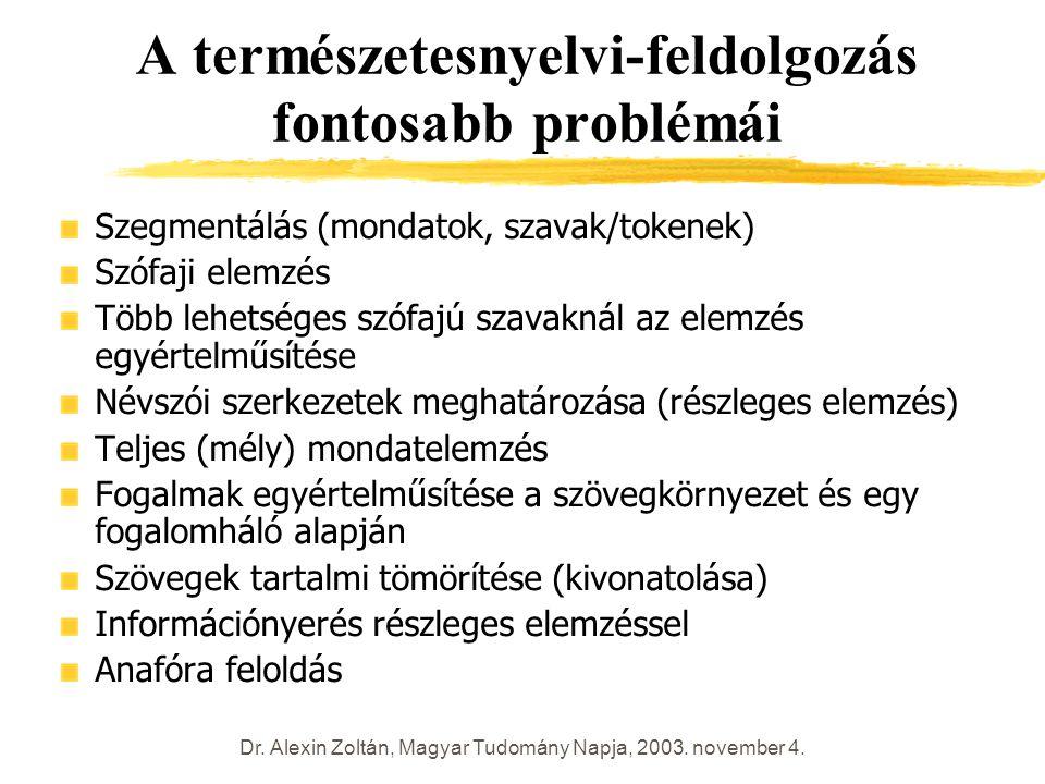 Dr. Alexin Zoltán, Magyar Tudomány Napja, 2003. november 4. A természetesnyelvi-feldolgozás fontosabb problémái Szegmentálás (mondatok, szavak/tokenek