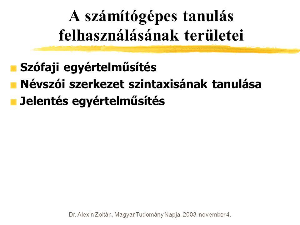 Dr. Alexin Zoltán, Magyar Tudomány Napja, 2003. november 4. A számítógépes tanulás felhasználásának területei Szófaji egyértelműsítés Névszói szerkeze