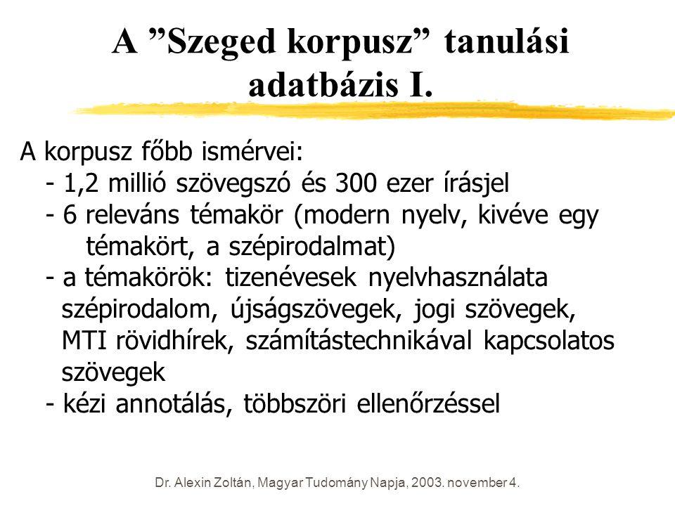 """Dr. Alexin Zoltán, Magyar Tudomány Napja, 2003. november 4. A """"Szeged korpusz"""" tanulási adatbázis I. A korpusz főbb ismérvei: - 1,2 millió szövegszó é"""