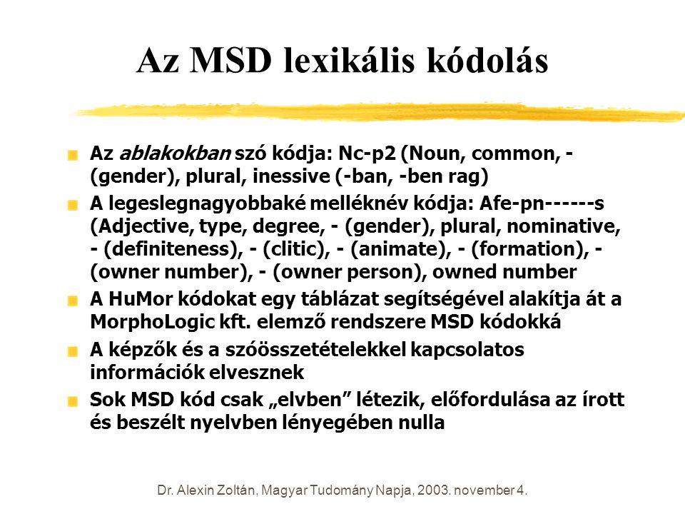 Dr. Alexin Zoltán, Magyar Tudomány Napja, 2003. november 4. Az MSD lexikális kódolás Az ablakokban szó kódja: Nc-p2 (Noun, common, - (gender), plural,