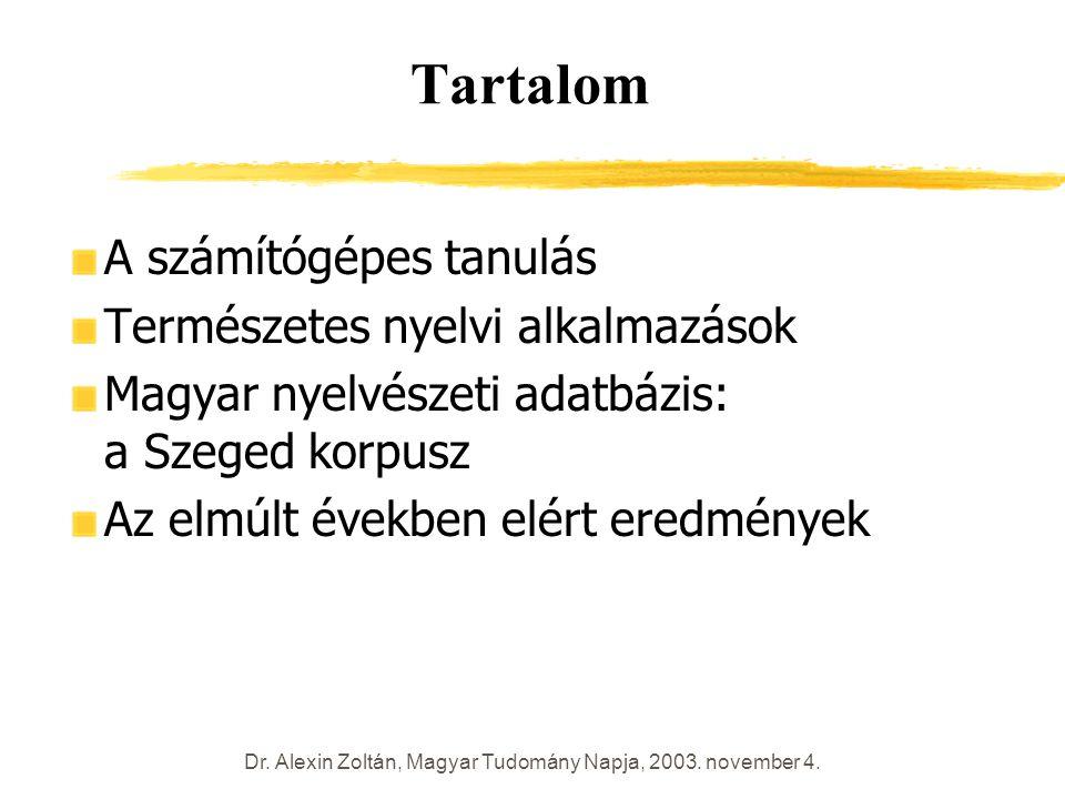 Dr. Alexin Zoltán, Magyar Tudomány Napja, 2003. november 4. Tartalom A számítógépes tanulás Természetes nyelvi alkalmazások Magyar nyelvészeti adatbáz