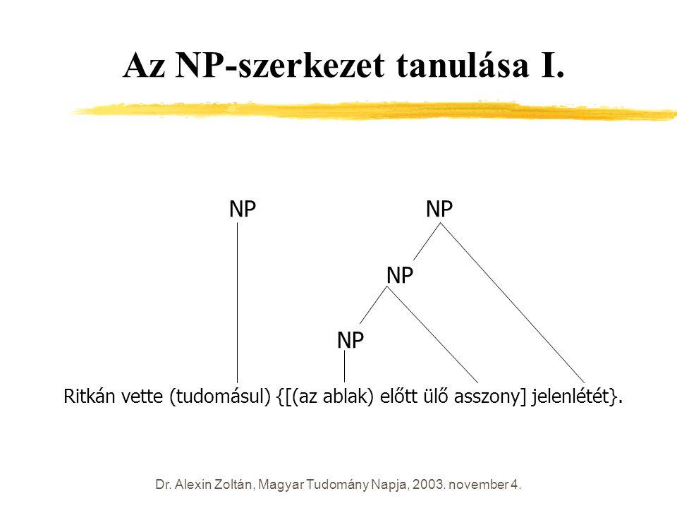 Dr. Alexin Zoltán, Magyar Tudomány Napja, 2003. november 4. Az NP-szerkezet tanulása I. NP NP NP Ritkán vette (tudomásul) {[(az ablak) előtt ülő asszo