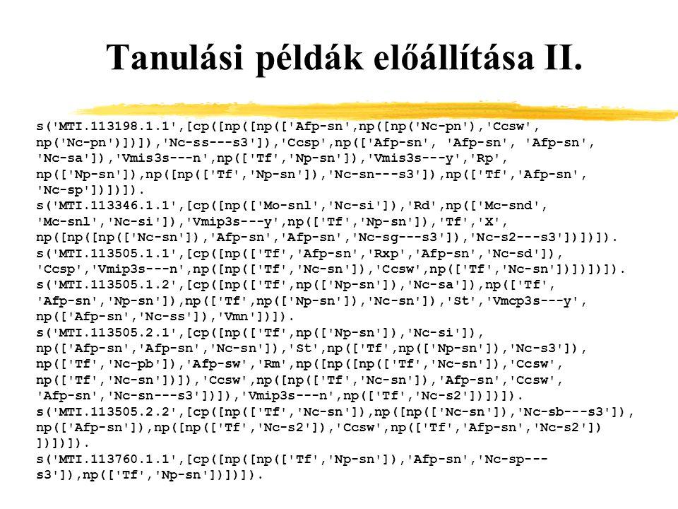 Tanulási példák előállítása II.