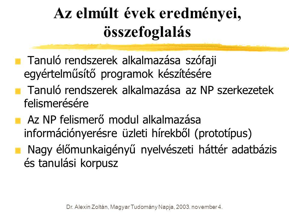 Dr. Alexin Zoltán, Magyar Tudomány Napja, 2003. november 4. Az elmúlt évek eredményei, összefoglalás Tanuló rendszerek alkalmazása szófaji egyértelműs