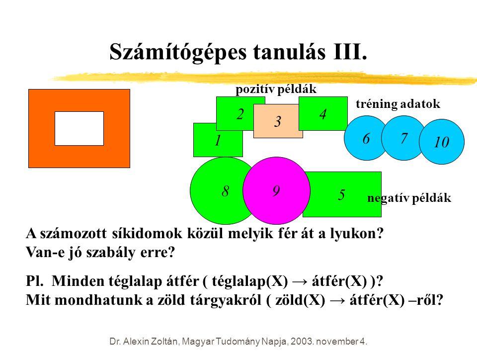 Dr. Alexin Zoltán, Magyar Tudomány Napja, 2003. november 4. Számítógépes tanulás III. 1 2 3 4 5 67 8 9 10 A számozott síkidomok közül melyik fér át a