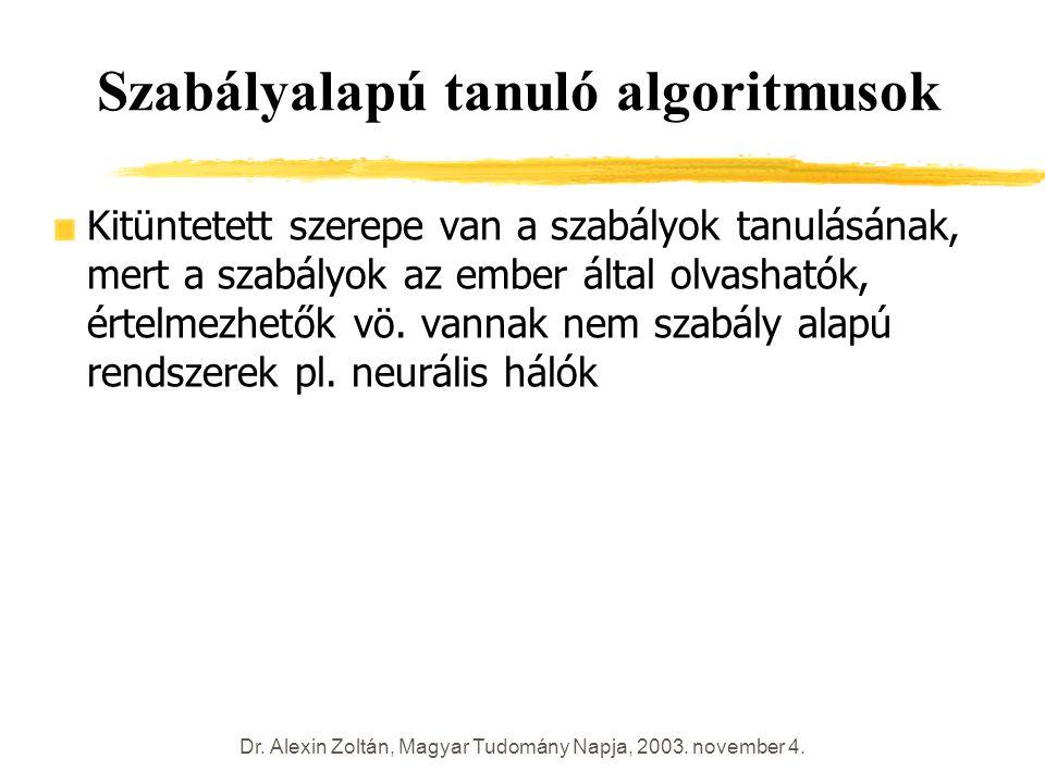 Dr. Alexin Zoltán, Magyar Tudomány Napja, 2003. november 4. Szabályalapú tanuló algoritmusok Kitüntetett szerepe van a szabályok tanulásának, mert a s