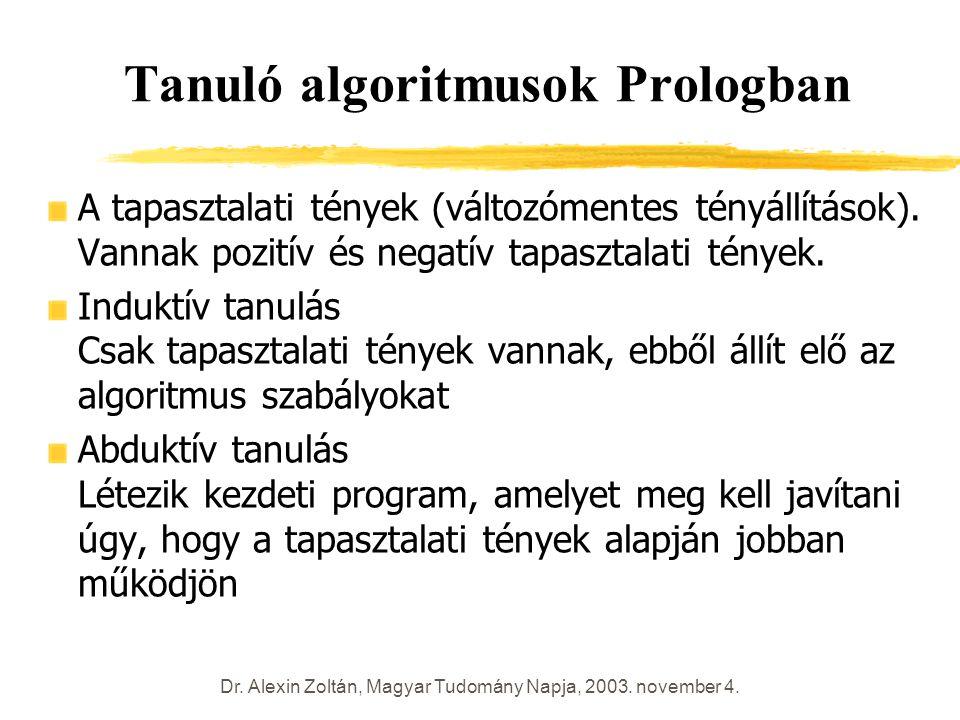 Dr. Alexin Zoltán, Magyar Tudomány Napja, 2003. november 4. Tanuló algoritmusok Prologban A tapasztalati tények (változómentes tényállítások). Vannak