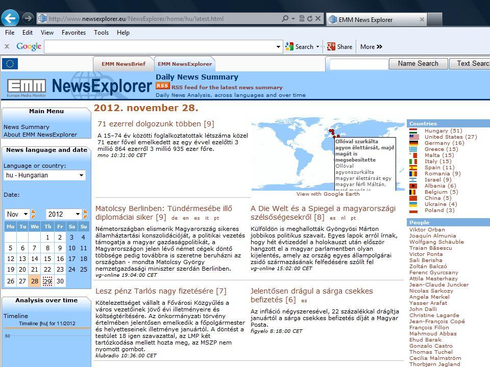  Automatikusan gyűjt híreket (clustereket) on- line forrásokból  A leggyakoribb személyneveket és ezek kapcsolatrendszerét gyűjti és ábrázolja.