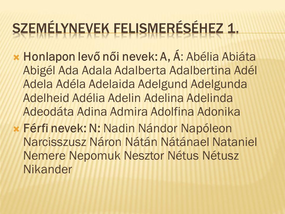  Honlapon levő női nevek: A, Á: Abélia Abiáta Abigél Ada Adala Adalberta Adalbertina Adél Adela Adéla Adelaida Adelgund Adelgunda Adelheid Adélia Ade