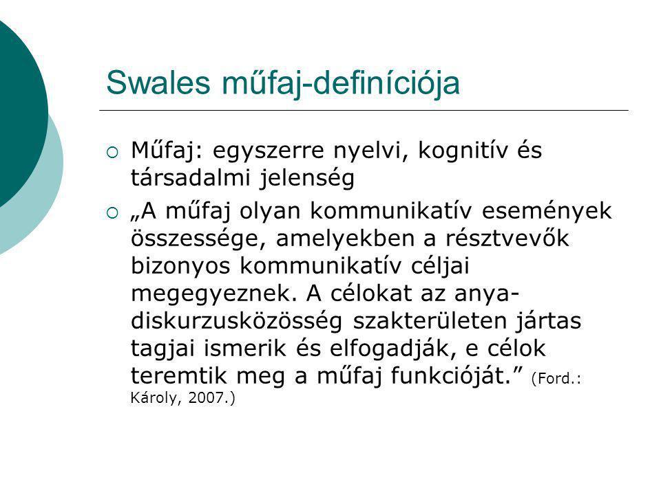 """Swales műfaj-definíciója  Műfaj: egyszerre nyelvi, kognitív és társadalmi jelenség  """"A műfaj olyan kommunikatív események összessége, amelyekben a résztvevők bizonyos kommunikatív céljai megegyeznek."""
