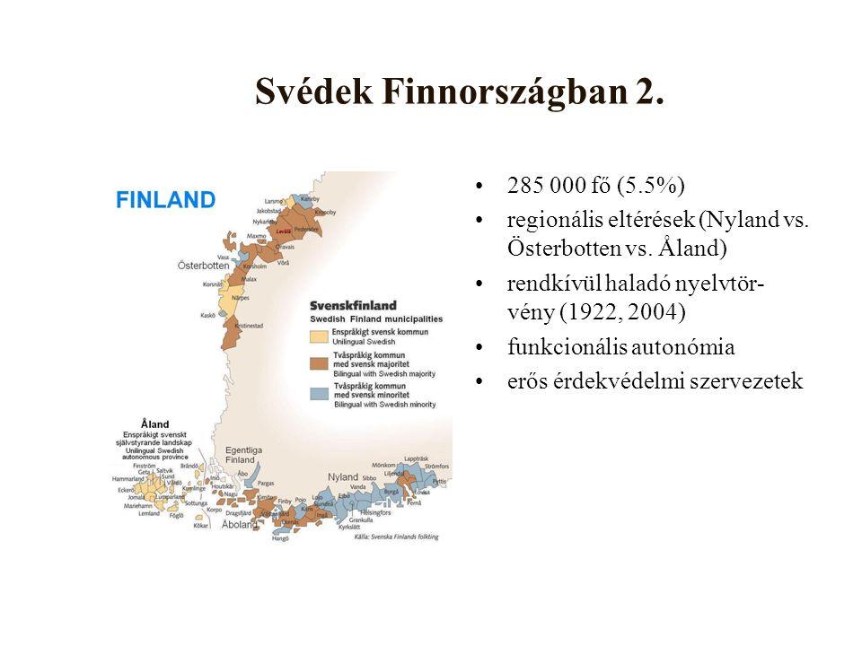 Svédek Finnországban 2. 285 000 fő (5.5%) regionális eltérések (Nyland vs.