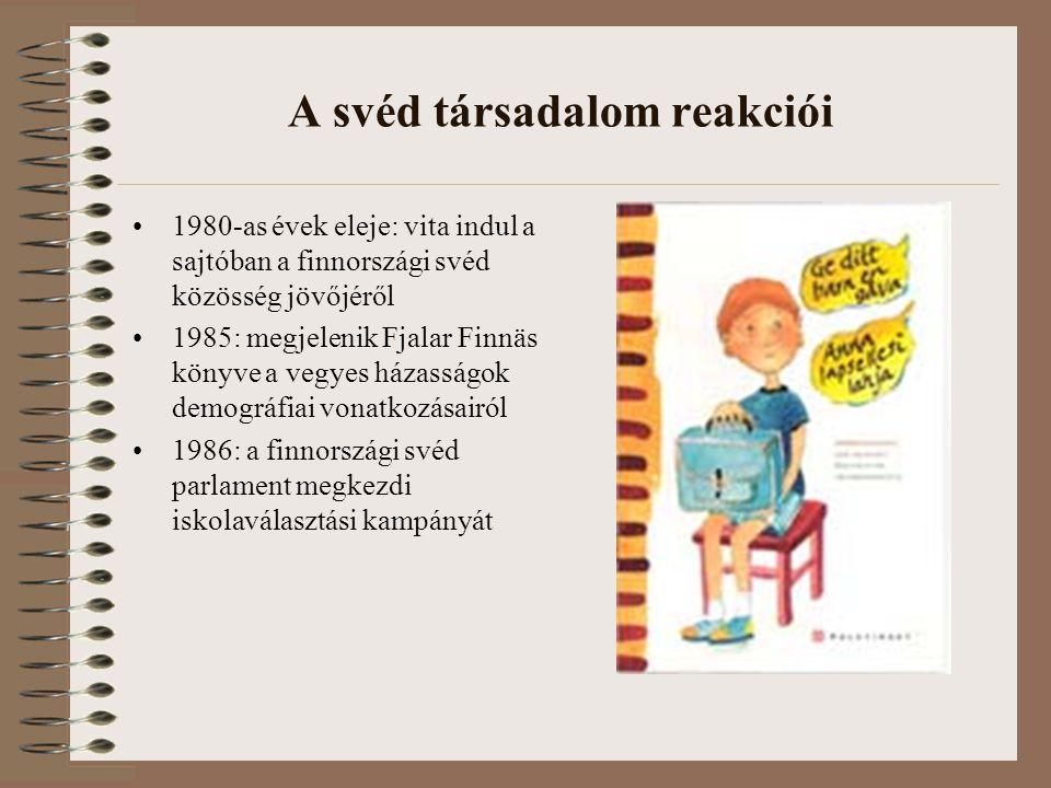 A svéd társadalom reakciói 1980-as évek eleje: vita indul a sajtóban a finnországi svéd közösség jövőjéről 1985: megjelenik Fjalar Finnäs könyve a vegyes házasságok demográfiai vonatkozásairól 1986: a finnországi svéd parlament megkezdi iskolaválasztási kampányát