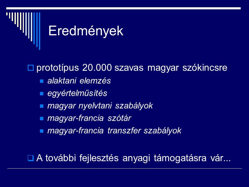 A MATCHPAD PROJEKTUM  EU által finanszírozott pályázat, 2000-2002  Systran SA – MTA Nyelvtudományi Intézet  nyelvpárok: angol  magyar magyar  francia