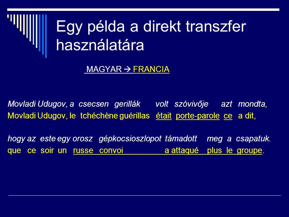 TRANSZFERALAPÚ RENDSZER FORRÁS- NYELVI SZÖVEG CÉL- NYELVI SZÖVEG ELEMZETT SZÖVEG FORDÍTOTT SZÖVEG forrásnyelvi szótár +nyelvtan célnyelvi szótár +nyelvtan forrás  cél transzfer szótár + nyelvtan