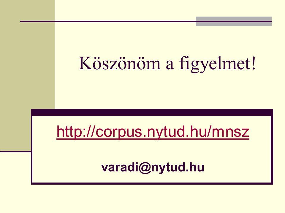 Köszönöm a figyelmet! http://corpus.nytud.hu/mnsz varadi@nytud.hu